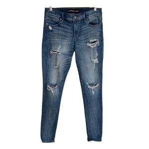 EXPRESS Legging Jeans Distressed Mid Rise 8 Long